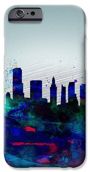 Miami Digital Art iPhone Cases -  Miami Watercolor Skyline iPhone Case by Naxart Studio