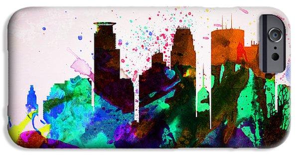 Downtown Digital iPhone Cases -  Minneapolis City Skyline iPhone Case by Naxart Studio