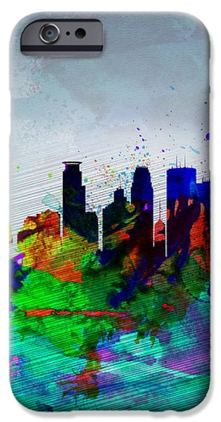 Romantic Digital iPhone Cases -  Minneapolis Watercolor Skyline iPhone Case by Naxart Studio