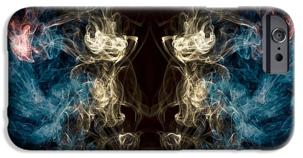 Ghoul iPhone Cases -  Minotaur Smoke Abstract iPhone Case by Edward Fielding