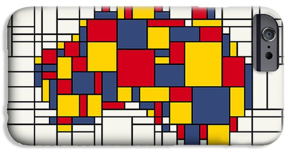 Neo-plasticism iPhone Cases -  Mondrian inspired Australia Map iPhone Case by Michael Tompsett