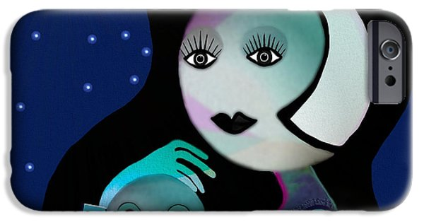 Irmgard iPhone Cases - 042 - Moon-Mother-Child   B iPhone Case by Irmgard Schoendorf Welch