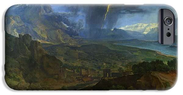 Landscape With Mountains iPhone Cases -  Mountain Landscape with Lightning iPhone Case by Francisque Millet