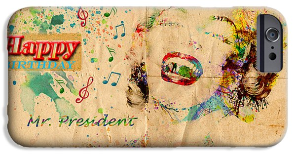 1950s Movies Mixed Media iPhone Cases -  Happy Birthday Mr President iPhone Case by Gillian Singleton