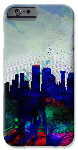 New Orleans Louisiana iPhone Cases -  New Orleans Watercolor Skyline iPhone Case by Naxart Studio