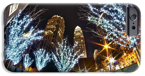 Clt iPhone Cases -  Nightlife Around Charlotte At Christmas iPhone Case by Alexandr Grichenko