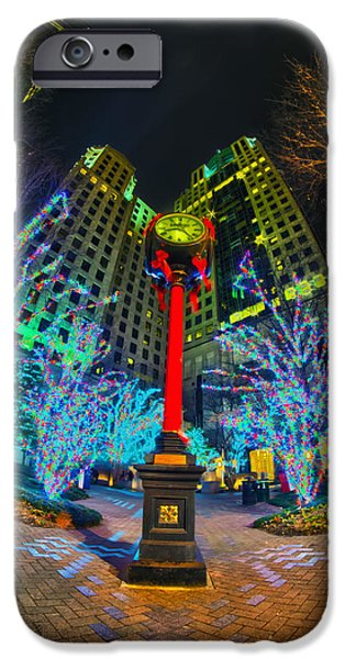 Clt iPhone Cases -  Nightlife Around Charlotte During Christmas iPhone Case by Alexandr Grichenko
