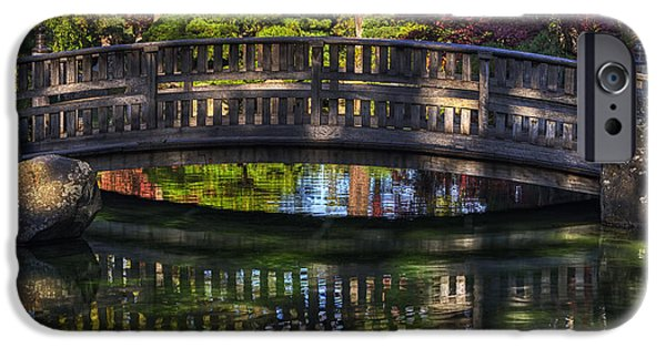 Spokane iPhone Cases -  Nishinomiya Japanese Garden - Bridge over Kiri Pond iPhone Case by Mark Kiver