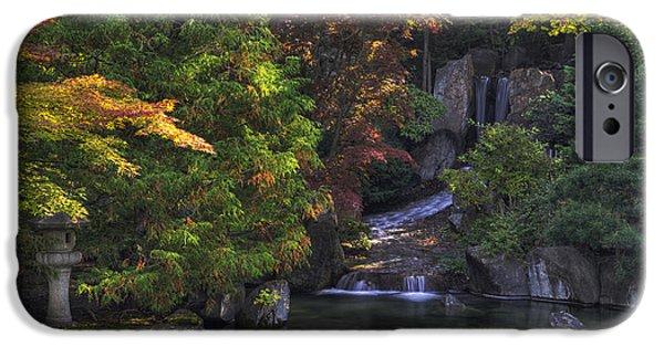 Spokane iPhone Cases -  Nishinomiya Japanese Garden - Waterfall iPhone Case by Mark Kiver