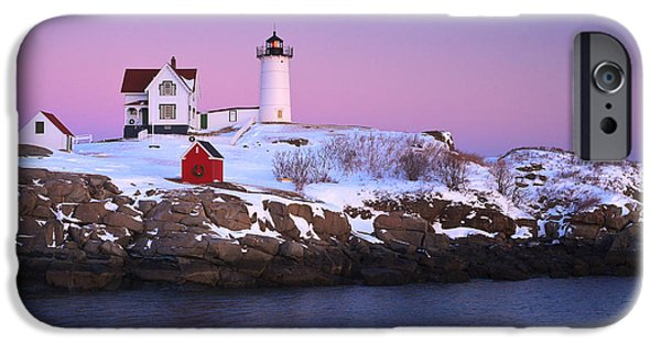 Cape Neddick Lighthouse iPhone Cases -  Nubble Light Under A Pastel Winter Sky iPhone Case by Jeff Sinon