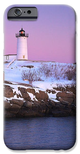 Nubble Light Under A Pastel Winter Sky iPhone Case by Jeff Sinon