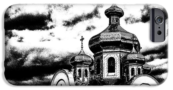 Rainy Day iPhone Cases -  Orthodox Church BW iPhone Case by Brian Orlovich