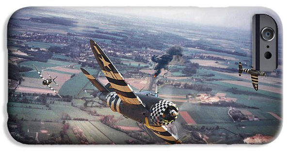 Combat Scene iPhone Cases -  P47- D-day Train Busters iPhone Case by Pat Speirs