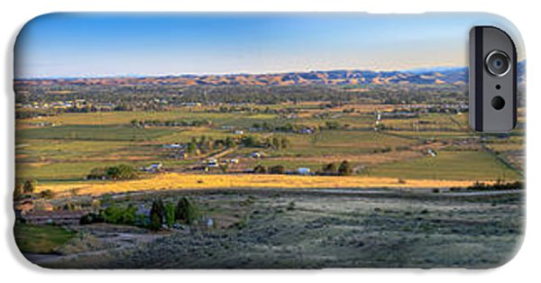 Haybale iPhone Cases -  Panoramic Emmett Valley iPhone Case by Robert Bales