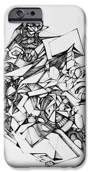 Abstract Digital Drawings iPhone Cases -  Perception Of Things iPhone Case by The Door Project