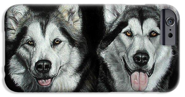 Huskies Pastels iPhone Cases -  Pet Portrait A3 16x12 In Malamutes iPhone Case by Ksenija Mijokovic