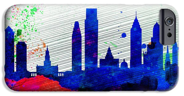 Horizon Paintings iPhone Cases -  Philadelphia City Skyline iPhone Case by Naxart Studio