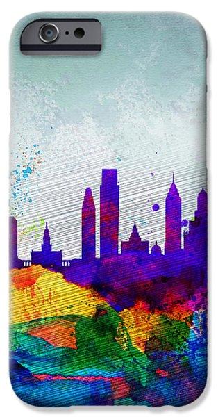 Downtown Digital iPhone Cases -  Philadelphia Watercolor Skyline iPhone Case by Naxart Studio