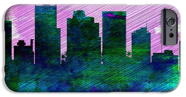 Horizon Paintings iPhone Cases -  Phoenix City Skyline iPhone Case by Naxart Studio