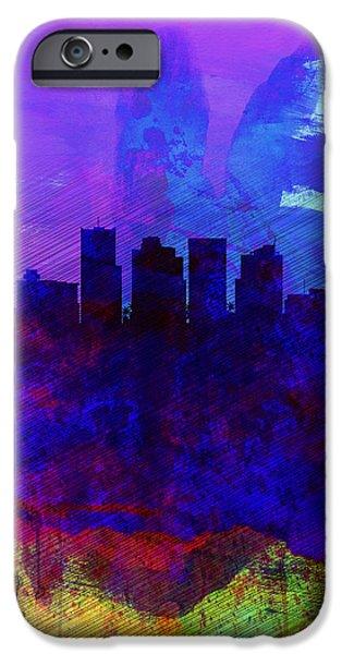 Phoenix iPhone Cases -  Phoenix Watercolor Skyline 1 iPhone Case by Naxart Studio