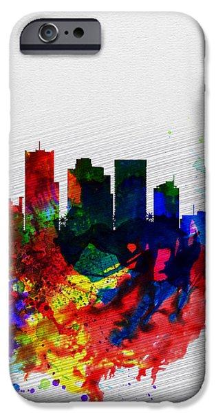 Phoenix iPhone Cases -  Phoenix Watercolor Skyline 2 iPhone Case by Naxart Studio