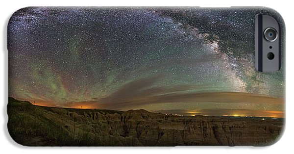 Badlands iPhone Cases -  Pinnacles Overlook at Night iPhone Case by Aaron J Groen