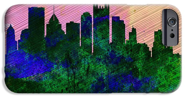Horizon Paintings iPhone Cases -  Pittsburgh City Skyline iPhone Case by Naxart Studio