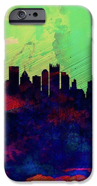 Pittsburgh iPhone Cases -  Pittsburgh Watercolor Skyline iPhone Case by Naxart Studio
