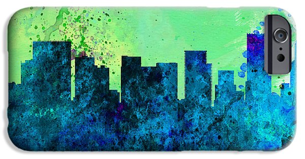 Horizon Paintings iPhone Cases -  Portland City Skyline iPhone Case by Naxart Studio