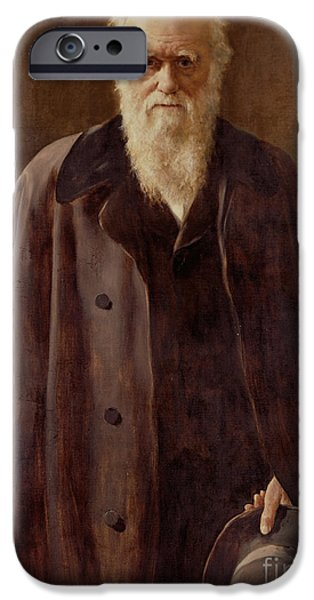 Zoology Paintings iPhone Cases -  Portrait of Charles Darwin iPhone Case by John Collier