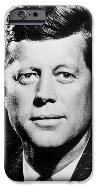 Politician iPhone Cases -  Portrait of John F. Kennedy  iPhone Case by American Photographer