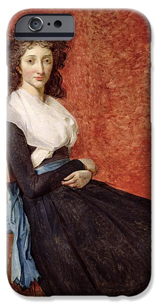 Madame iPhone Cases -  Portrait of Madame Charles-Louis Trudaine iPhone Case by Jacques Louis David
