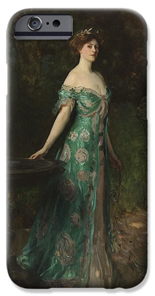 Duchess Paintings iPhone Cases -  Portrait of Millicent Leveson-Gower - Duchess of Sutherland iPhone Case by John Singer Sargent