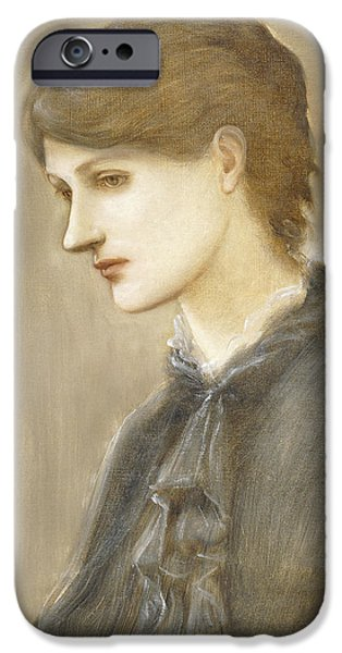 19th Century iPhone Cases -  Portrait of Mrs William J Stillman nee Marie Spartali iPhone Case by Sir Edward Coley Burne Jones