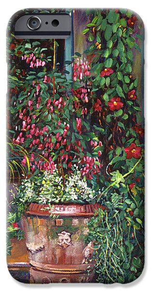 Terra Paintings iPhone Cases -  Pot Of Fuschia Flowers iPhone Case by David Lloyd Glover
