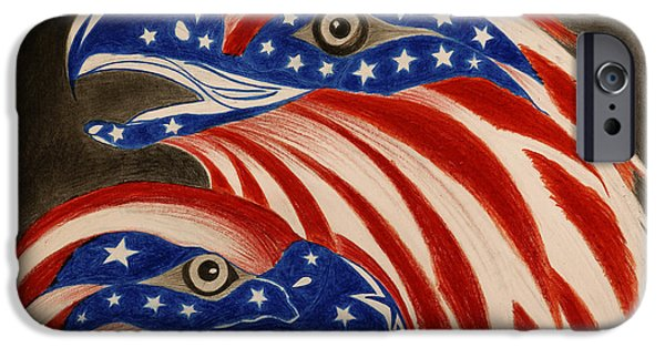 4th July Pastels iPhone Cases -  Proud of Eagle iPhone Case by Jalal Gilani