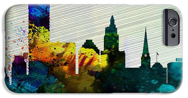 Horizon Paintings iPhone Cases -  Providence City Skyline iPhone Case by Naxart Studio