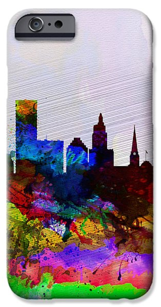Rhode Island iPhone Cases -  Providence Watercolor Skyline iPhone Case by Naxart Studio