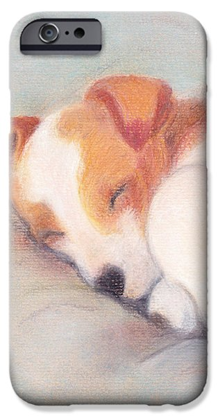 Puppies Pastels iPhone Cases -  Puppy Sleeping iPhone Case by Yggdrasil Art