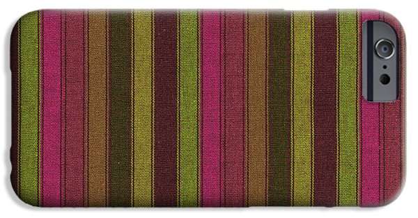 Textured Digital Art iPhone Cases -  Purple And Green Striped Textile Background iPhone Case by Keith Webber Jr