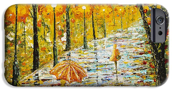 Rainy Day iPhone Cases -  Rainy Autumn Beauty original palette knife painting iPhone Case by Georgeta Blanaru