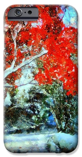 Wintertime iPhone Cases -  Red October Snow iPhone Case by Janine Riley