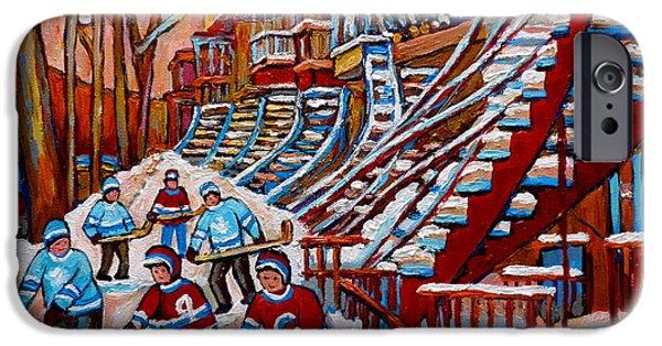 Montreal Artist Paints Verdun Street Scenes iPhone Cases -  Red Staircases -paintings Of Verdun Montreal City Scene - Hockey Art - Winter Scenes  iPhone Case by Carole Spandau
