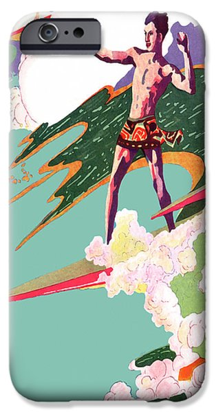 Rincon Beach iPhone Cases -  Retro Surfer - Beach Surfing Big Waves - At the Beach America iPhone Case by Private Collection