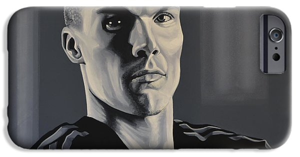 Sports Paintings iPhone Cases -  Robert Enke iPhone Case by Paul  Meijering
