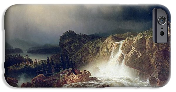 Storm Paintings iPhone Cases -  Rocky Landscape with Waterfall in Smaland iPhone Case by Marcus Larson