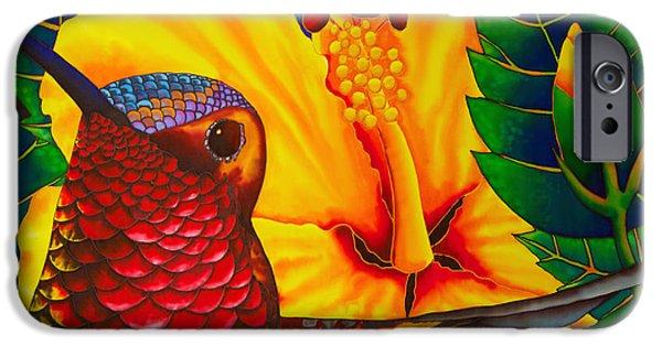 Garden Tapestries - Textiles iPhone Cases -  Rufous Hummingbird iPhone Case by Daniel Jean-Baptiste