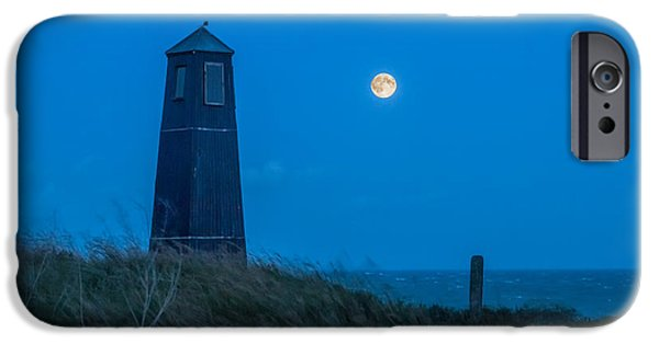Super Moon iPhone Cases -  Samphire Hoe Lighthouse iPhone Case by Ian Hufton