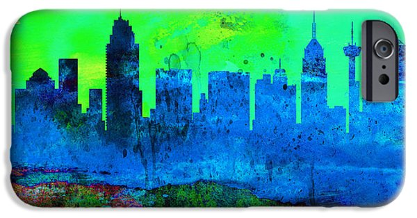 Horizon Paintings iPhone Cases -  San Antonio City Skyline iPhone Case by Naxart Studio