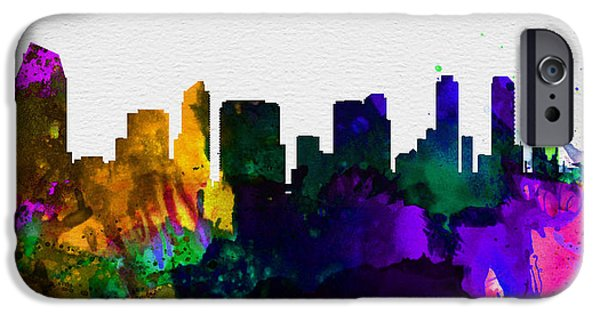 Horizon Paintings iPhone Cases -  San Diego City Skyline iPhone Case by Naxart Studio